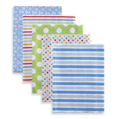 BabyVision® Luvable Friends® 5-Pack Stripes Flannel Receiving Blankets in Blue