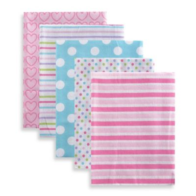 BabyVision® Luvable Friends® 5-Pack Stripes Flannel Receiving Blankets in Pink
