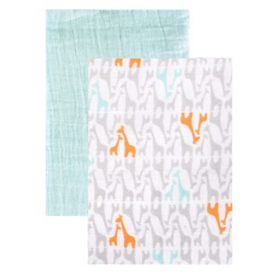 BabyVision® Yoga Sprout 2-Pack Giraffe Muslin Swaddle Blankets in Teal