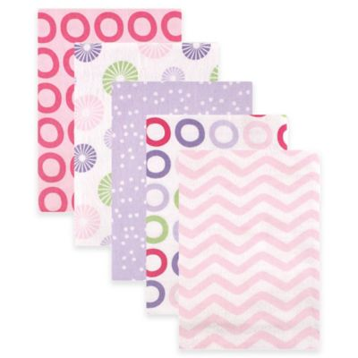 BabyVision® Luvable Friends® 5-Pack Pinwheel Flannel Receiving Blankets in Pink