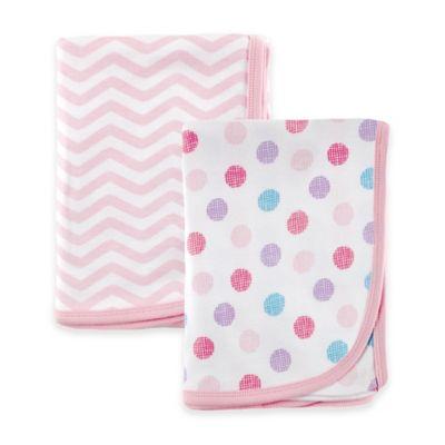 BabyVision® Luvable Friends® Interlock Receiving Blankets in Pink (2-Pack)