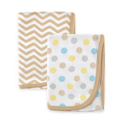 BabyVision® Luvable Friends® 2-Pack Dots Interlock Receiving Blankets in Tan