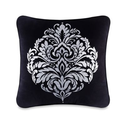 J. Queen New York™ Cambridge Damask Square Throw Pillow in Black
