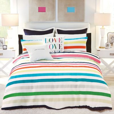 kate spade new york Candy Stripe Full/Queen Duvet Cover Set