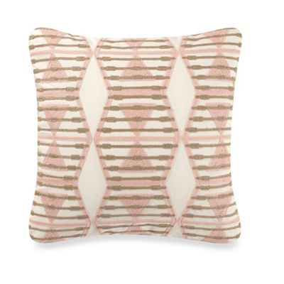 Anthology™ Mina Crewel Embroidered Square Throw Pillow in Blush