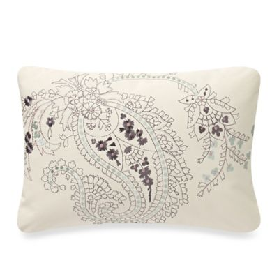 Anthology™ Mina Paisley Embroidered Oblong Throw Pillow in Ivory