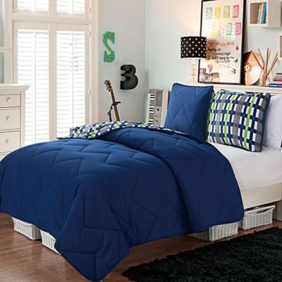 VCNY Juniper 2-Piece Reversible Twin/Twin XL Comforter Set in Navy