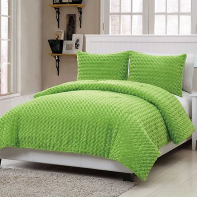 VCNY Rose Fur 3-Piece Full Comforter Set in Green