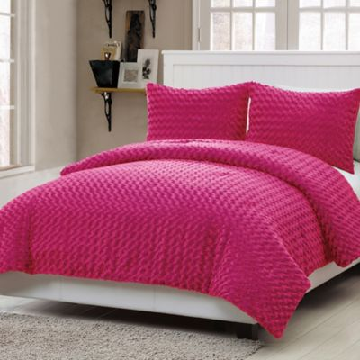 VCNY Rose Fur 2-Piece Twin Comforter Set in Pink