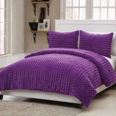 VCNY Rose Fur 2-Piece Twin Comforter Set in Purple
