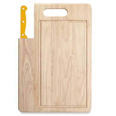 Ginsu Essential Series 7-Inch Santoku Knife and Cutting Board Set in Sunset Yellow
