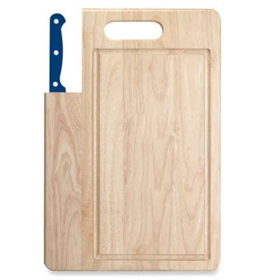 Ginsu Essential Series 7-Inch Santoku Knife and Cutting Board Set in Navy Blue