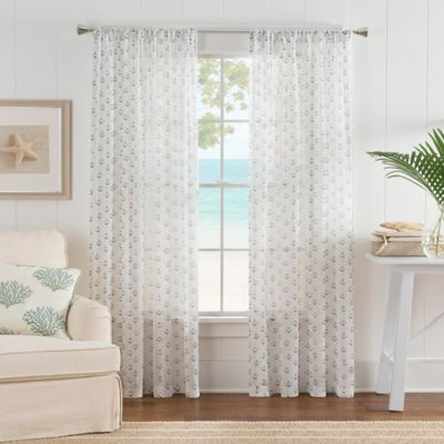 Nautical Anchor 63-Inch Rod Pocket Sheer Window Curtain Panel in White/Blue