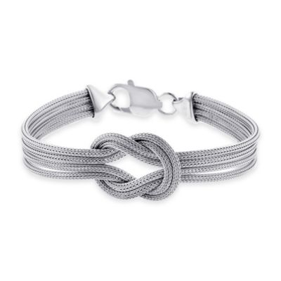 Sterling Silver 7.5-Inch Large Infinity Knot Mesh Multi-Strand Ladies' Bracelet