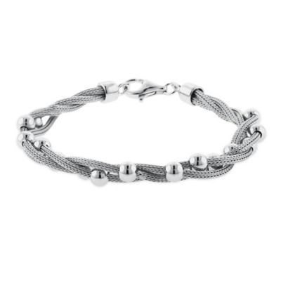 Sterling Silver 7.5-Inch Twisted Mesh with Beaded Stations Ladies' Bracelet