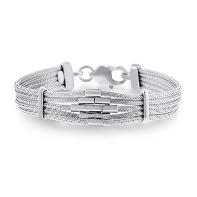 Sterling Silver 7.5-Inch Diamond Bar Mesh Multi-Strand Ladies' Bracelet