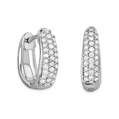 10K White Gold .25 cttw Diamond Pave Tapered Hoop Earrings