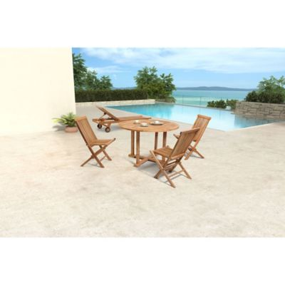 Zuo® Regatta Outdoor Round Dining Table with Natural Finish