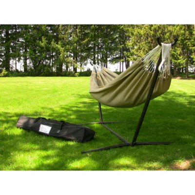Vivere 9-Foot Double Hammock in Sunbrella® Fabric with Stand in Sand