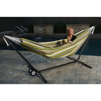 Vivere 9-Foot Double Hammock in Sunbrella® Fabric with Stand in Green/Yellow