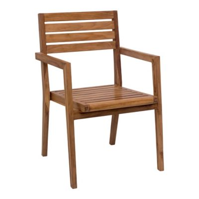 Zuo® Outdoor Nautical Dining Armchair in Natural Teak (Set of 2)