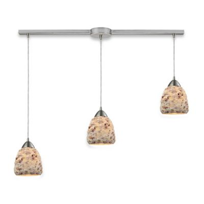 Elk Lighting Multi Bunched Shells 3-Light Pendant Light in Satin Nickel