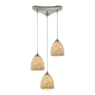 Elk Lighting Ribbed Shells 3-Light Pendant Light in Satin Nickel