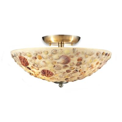 Elk Lighting Multi Shells 3-Light Semi-Flush Light in Satin Nickel