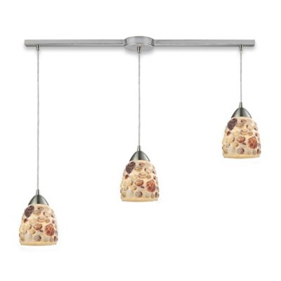 Elk Lighting Multi Shells 3-Light Pendant Light in Satin Nickel
