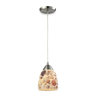 Elk Lighting Multi Shells 1-Light Pendant Light in Satin Nickel