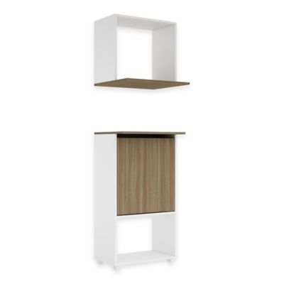Manhattan Comfort Kallang Kitchen Counter and Aerial Organizer in Oak