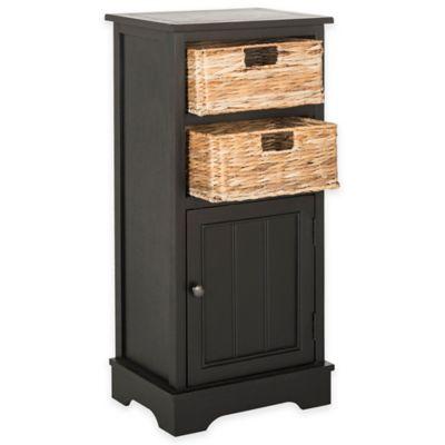 Safavieh Connery 2-Wicker-Basket Storage Chest in Distressed Black