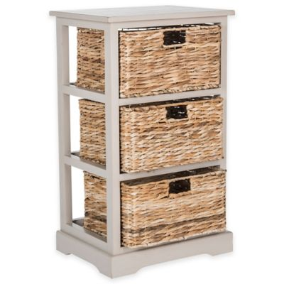 Safavieh Halle 3-Wicker-Basket Storage Side Table in Winter