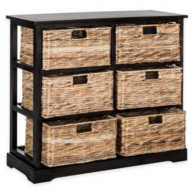 Safavieh Keenan 6-Wicker-Basket Storage Chest in Black