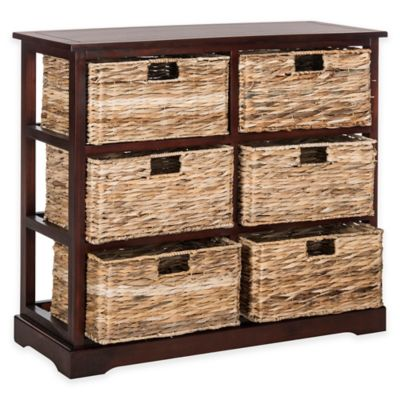 Safavieh Keenan 6-Wicker-Basket Storage Chest in Grey