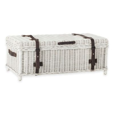 Safavieh Navarro Wicker Trunk in White