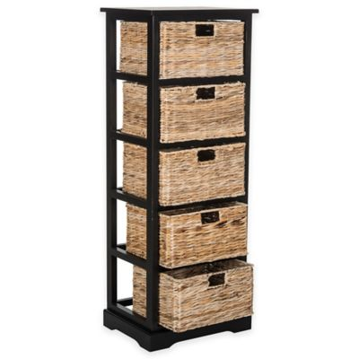 Safavieh Vedette 5-Wicker-Basket Storage Chest in Distressed Black
