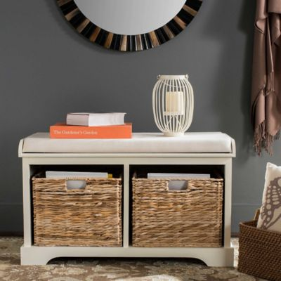 White Wood Storage Bench