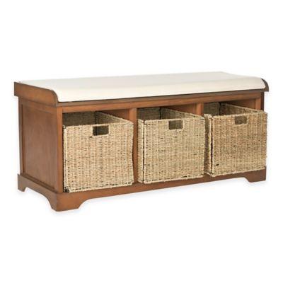Safavieh Lonan Storage Bench in Walnut/White