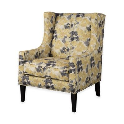 Madison Park Barton Wing Chair in Slate Blue