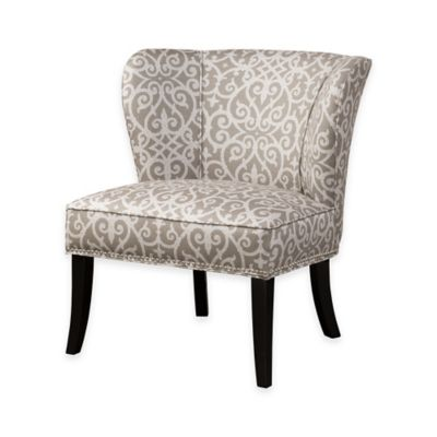 Madison Park Hilton Armless Accent Chair in Grey/White