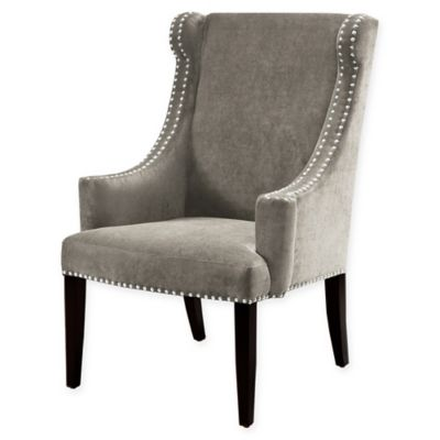 Madison Park Marcel High Back Wing Chair in Dark Gray
