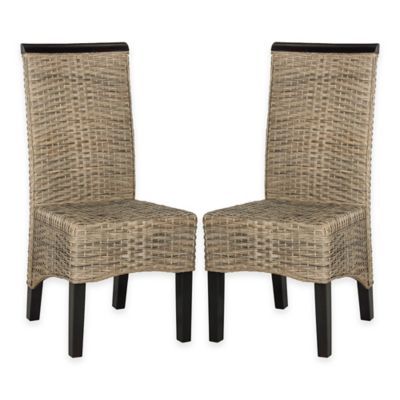 Safavieh Ilya Wicker Dining Chairs in Antique Grey (Set of 2)
