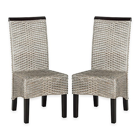 Buy safavieh ilya wicker dining chairs in antique grey set of 2 from
