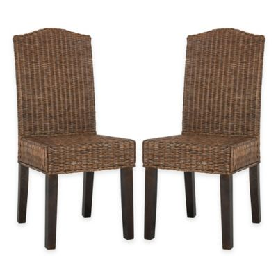 Safavieh Odette Wicker Dining Chairs in Brown Multi (Set of 2)