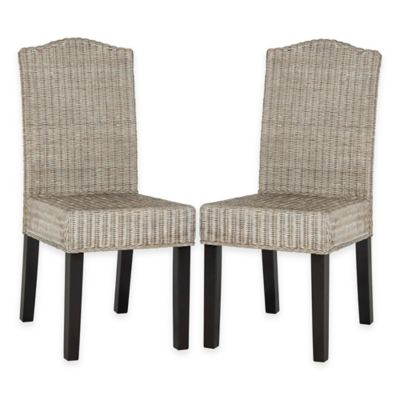 Safavieh Odette Wicker Dining Chairs in Antique Grey (Set of 2)
