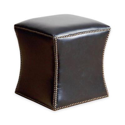 Abbyson Living® Elliot Leather Ottoman in Black