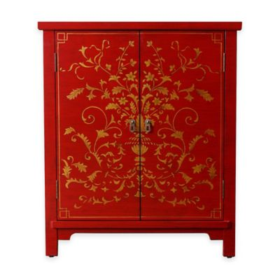 Abbyson Living® Antique Parmita Hand Painted Side Cabinet in Red