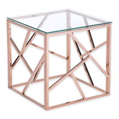 Zuo® Cage Side Table in Rose Gold