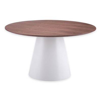 Zuo® Query Dining Table in White/Walnut